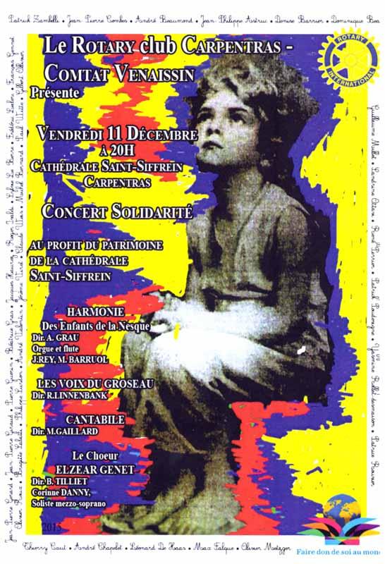 Choeur Elzéar Genêt Carpentras Concert Solidarité Rotary Club décembre 2015