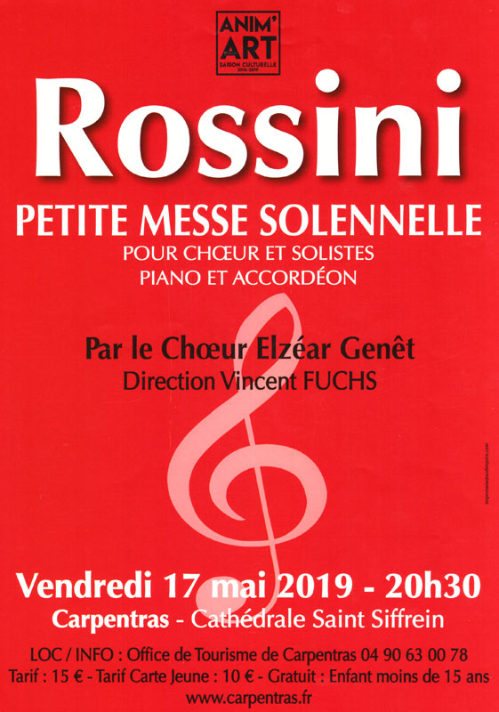 Choeur Elzéar Genêt Carpentras Concert Rossini 17 mai 2019 cathédrale Saint-Siffrein